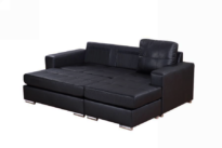 modular sofa in black 3 seater leather