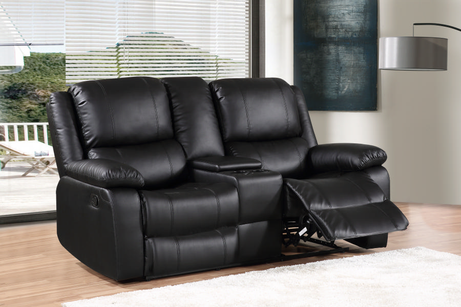 2 Seater Leather Recliner In Black First Furniture